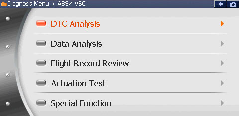 GScan - меню основных функций работы с блоком